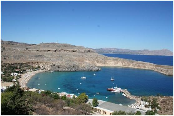 Apostolos Studios - view of the main beach and bay