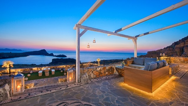 Lindos Vigli Villa - watch the beautiful sunset from the comfort of your own sofa