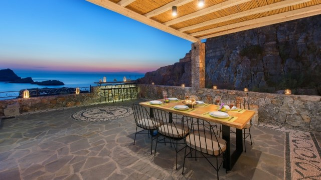 Lindos Vigli Villa - Sunset whilst having your evening meal