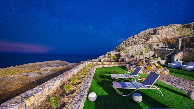 Lindos Vigli Villa - Night time view from the gardens where you can sit and stargaze