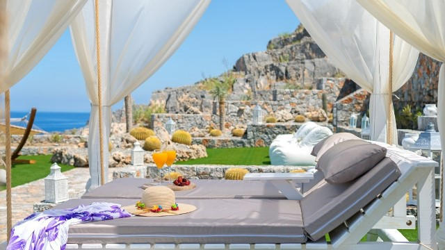 Lindos Vigli Villa - Four poster sunlounger and lovely gardens with a beautiful sea view